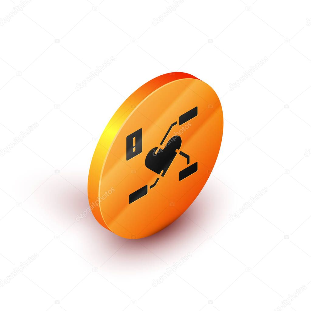 Isometric Attention to health heart icon isolated on white background. Orange circle button. Vector. icon