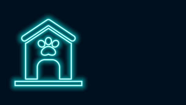 Leuchtende Neon-Linie Hundehaus und Pfotendruck Haustier Symbol isoliert auf schwarzem Hintergrund. Hundezwinger. 4K Video Motion Grafik Animation
