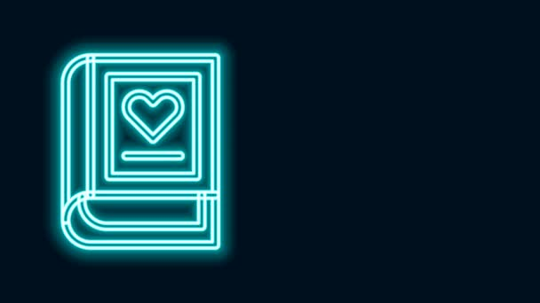 Glowing neon line Medical book icon isolated on black background. 4K Video motion graphic animation