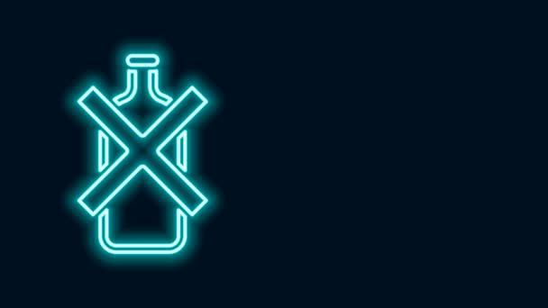 Leuchtende Leuchtschrift Kein Alkohol-Symbol auf schwarzem Hintergrund. Alkoholverbot. Verbotenes Symbol mit Bierflaschenglas. 4K Video Motion Grafik Animation