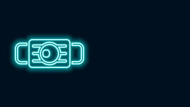 Leuchtende Neon-Linie Medizinische Schutzmaske Symbol isoliert auf schwarzem Hintergrund. 4K Video Motion Grafik Animation