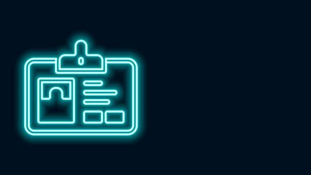 Zářící neonová čára Ikona identifikačního odznaku izolovaná na černém pozadí. Lze jej použít pro prezentaci, identitu společnosti, reklamu. Grafická animace pohybu videa 4K