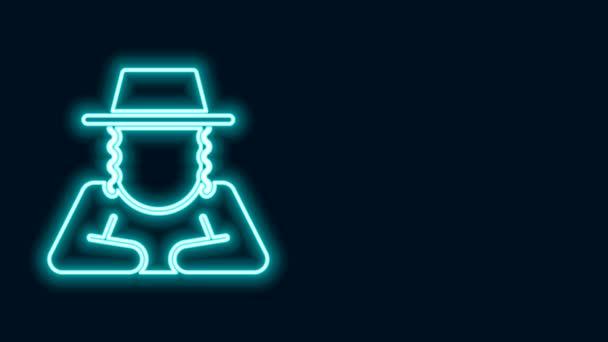 Ragyogó neon vonal ortodox zsidó kalap oldalsó ikon elszigetelt fekete háttérrel. Zsidó férfiak hagyományos ruhában. Judaizmus szimbólumok. 4K Videó mozgás grafikus animáció