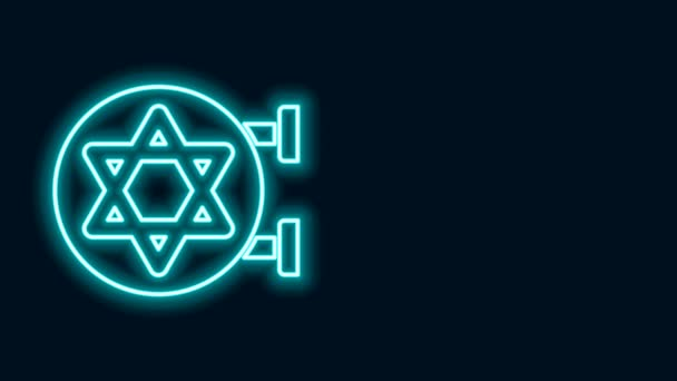 Glowing neon line Jewish synagogue building or jewish temple icon isolated on black background. Hebrew or judaism construction with David star. 4K Video motion graphic animation