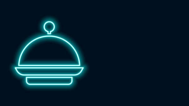 Leuchtende Neon-Linie Weihnachten mit einem Tablett mit Essen Symbol isoliert auf schwarzem Hintergrund bedeckt. Tablett und Deckelschild vorhanden. Frohe Weihnachten und ein gutes neues Jahr. 4K Video Motion Grafik Animation