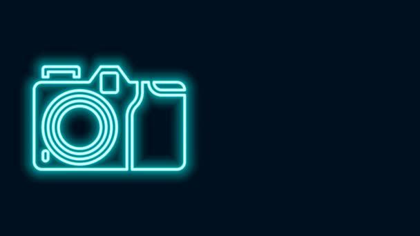 Leuchtende Leuchtschrift Fotokamera-Symbol isoliert auf schwarzem Hintergrund. Ikone der Fotokamera. 4K Video Motion Grafik Animation