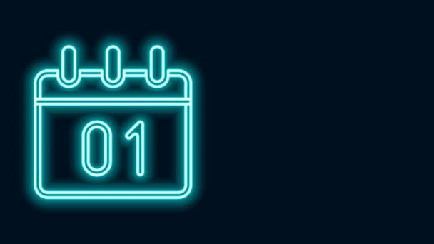 Világító neon vonal Naptár ikon elszigetelt fekete háttérrel. Eseményemlékeztető szimbólum. Boldog karácsonyt és boldog új évet! 4K Videó mozgás grafikus animáció