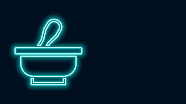 Glowing neon line Mortar and pestle icon isolated on black background. 4K Video motion graphic animation