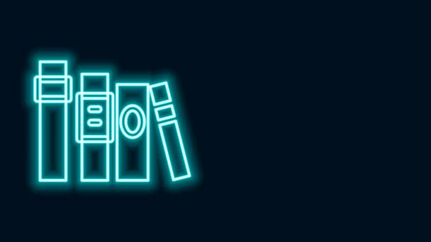 Glowing neon line Book icon isolated on black background. 4K Video motion graphic animation