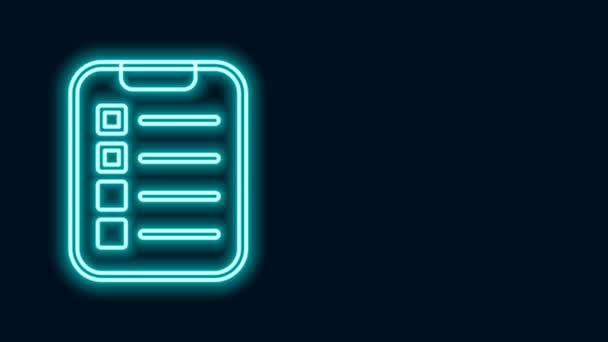 Leuchtende Leuchtschrift To-do-Liste oder Planungssymbol isoliert auf schwarzem Hintergrund. 4K Video Motion Grafik Animation