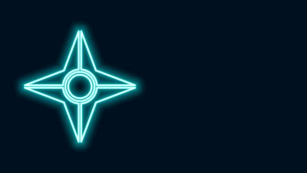 Zářící neon line Japonský ninja shuriken ikona izolované na černém pozadí. Grafická animace pohybu videa 4K