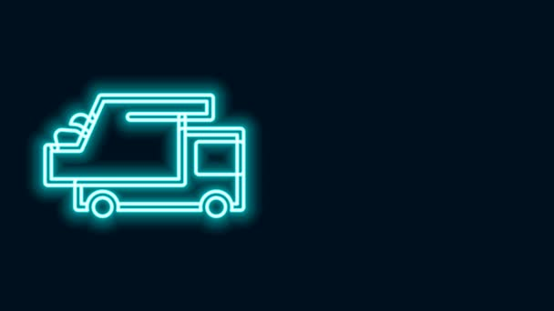 Glowing neon line Garbage truck icon isolated on black background. 4K Video motion graphic animation