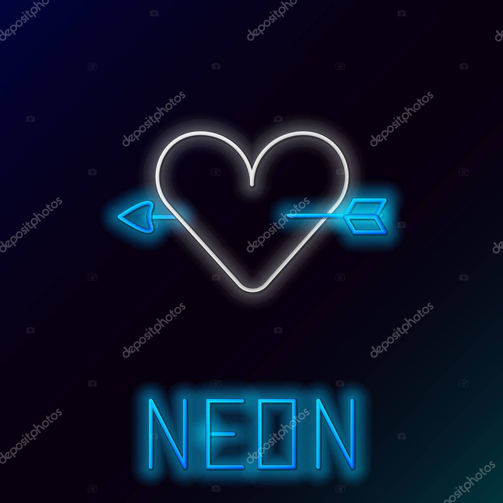 Glowing neon line Amour symbol with heart and arrow icon isolated on black background. Love sign. Valentines symbol. Colorful outline concept. Vector. icon