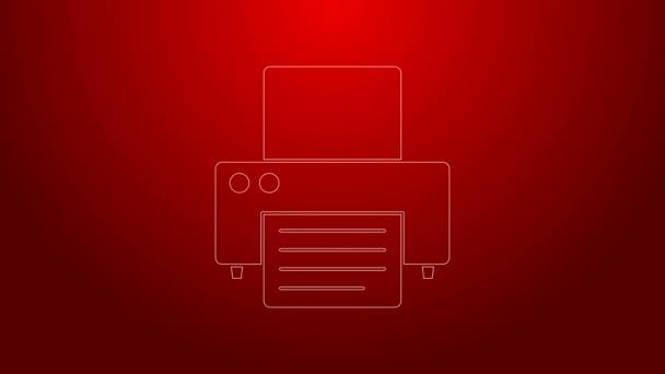 Grüne Linie Druckersymbol auf rotem Hintergrund isoliert. 4K Video Motion Grafik Animation