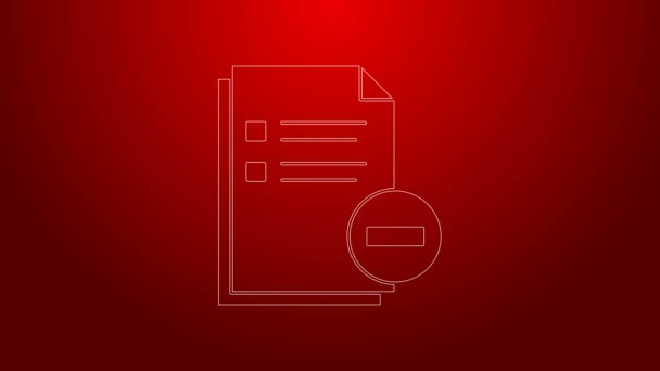 Green line Document with minus icon isolated on red background. Clear document. Remove file document. Delete information file. 4K Video motion graphic animation