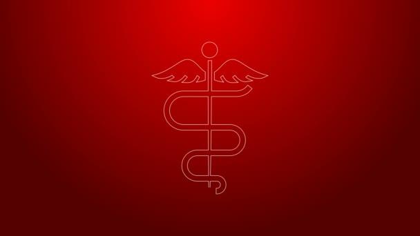 Grüne Linie Caduceus Schlange medizinisches Symbol Symbol isoliert auf rotem Hintergrund. Medizin und Gesundheitsfürsorge. Emblem für Drogerie oder Medizin, Apotheke. 4K Video Motion Grafik Animation