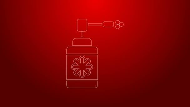 Grüne Linie Medizinische Flasche mit Düsenspray zur Behandlung von Erkrankungen der Nase und des Rachens auf rotem Hintergrund isoliert. 4K Video Motion Grafik Animation