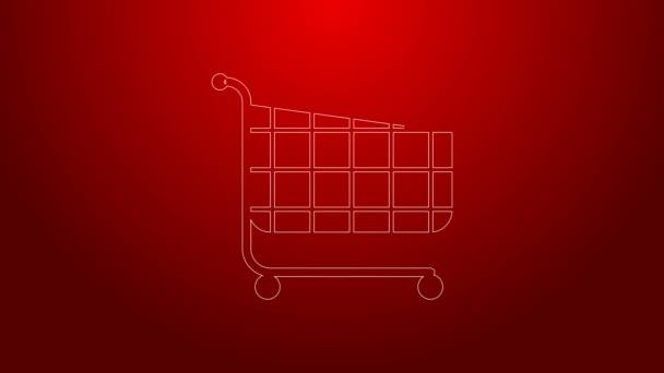 Zöld vonal Bevásárlókocsi ikon elszigetelt piros háttér. Online vásárlási koncepció. Kézbesítőtábla. Szupermarket kosár szimbólum. 4K Videó mozgás grafikus animáció
