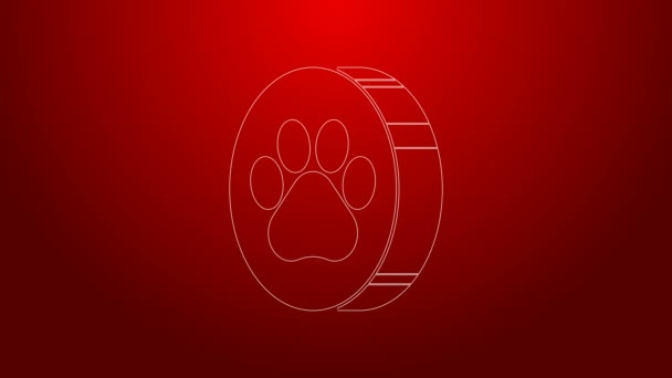 Zöld vonal Paw print ikon elszigetelt piros háttér. Kutya- vagy macskamancs lenyomat. Állati nyom. 4K Videó mozgás grafikus animáció