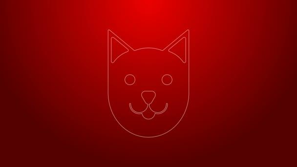 Zöld vonal Cat ikon elszigetelt piros háttér. 4K Videó mozgás grafikus animáció