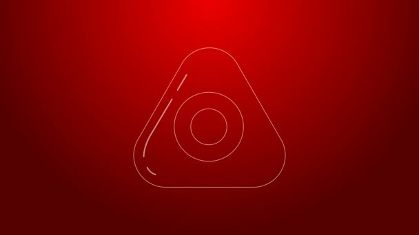 Green line Sewing chalk icon isolated on red background. 4K Video motion graphic animation