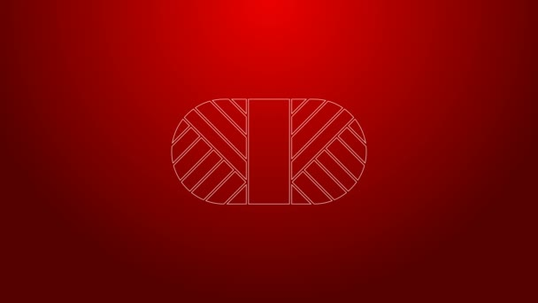Green line Sewing thread on spool icon isolated on red background. Yarn spool. Thread bobbin. 4K Video motion graphic animation