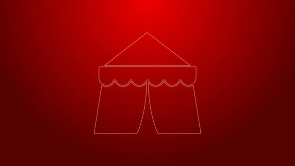 Grüne Linie Zirkuszelt Symbol isoliert auf rotem Hintergrund. Karnevalszelt. Freizeitpark. 4K Video Motion Grafik Animation