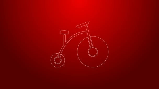 Green line Vintage bicycle with one big wheel and one small icon isolated on red background. Bike public transportation sign. 4K Video motion graphic animation