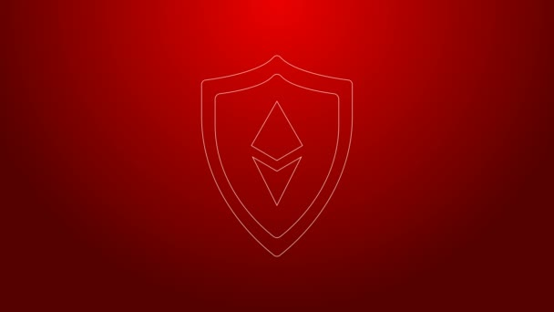 Zöld vonal Shield Ethereum ETH ikon elszigetelt piros háttérrel. Kriptovaluta bányászat, blockchain technológia, biztonság, védelem, digitális pénz. 4K Videó mozgás grafikus animáció