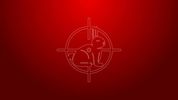 Grüne Linie Jagd auf Kaninchen mit Fadenkreuz-Symbol isoliert auf rotem Hintergrund. Vereinslogo mit Kaninchen und Zielscheibe. Zielfernrohr auf einen Hasen. 4K Video Motion Grafik Animation