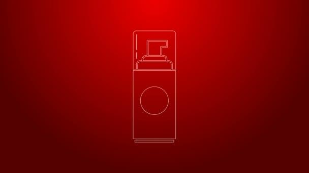 Zöld vonal Borotválkozás zselé hab ikon elszigetelt piros alapon. Borotvahab. 4K Videó mozgás grafikus animáció