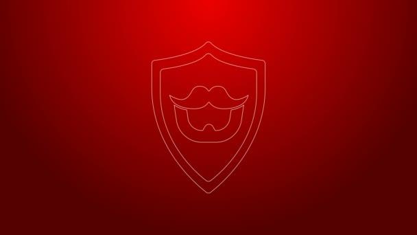 Zöld vonal Bajusz és szakáll pajzs ikon elszigetelt piros háttér. Borbélyüzlet szimbólum. Arcszőrzet. 4K Videó mozgás grafikus animáció