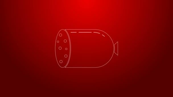 Zöld vonal Szalámi kolbász ikon elszigetelt piros alapon. Hús csemege termék. 4K Videó mozgás grafikus animáció