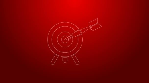 Zöld vonal Célpont a nyíl ikon elszigetelt piros háttér. Dárdajel. Íjászati tábla ikon. Dartboard jel. Üzleti cél koncepció. 4K Videó mozgás grafikus animáció