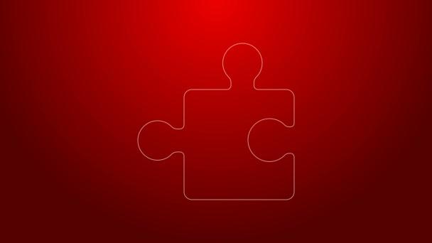 Zelená čára Kousek puzzle ikona izolované na červeném pozadí. Moderní byt, obchod, marketing, finance, internetový koncept. Grafická animace pohybu videa 4K