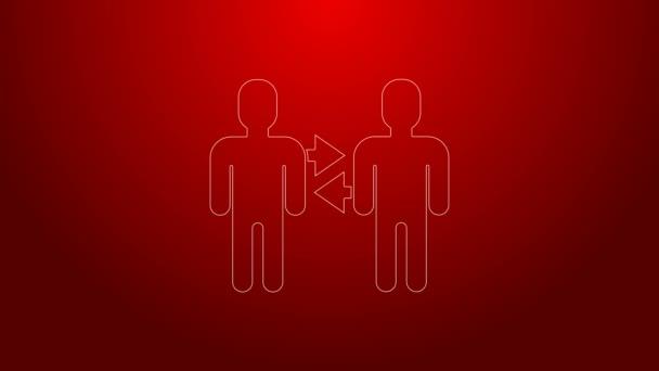Zelená čára Základní ikona projektového týmu izolovaná na červeném pozadí. Obchodní analýza a plánování, poradenství, týmová práce, projektové řízení. Grafická animace pohybu videa 4K