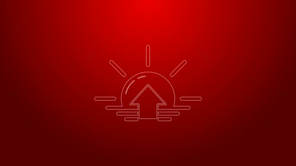 Green line Sunrise icon isolated on red background. 4K Video motion graphic animation