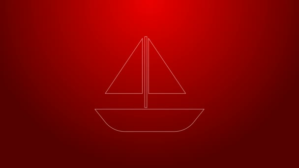 Green line Yacht sailboat or sailing ship icon isolated on red background. Sail boat marine cruise travel. 4K Video motion graphic animation