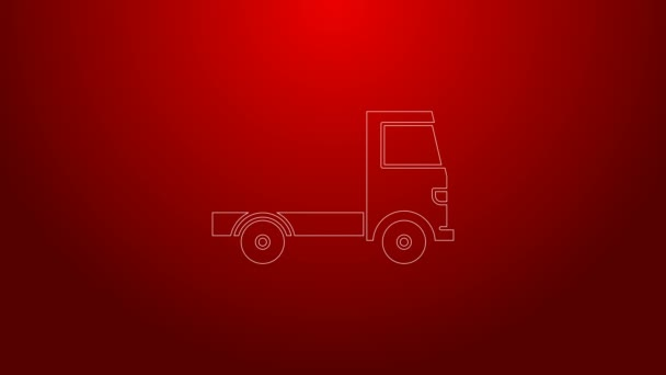 Green line Delivery cargo truck vehicle icon isolated on red background. 4K Video motion graphic animation