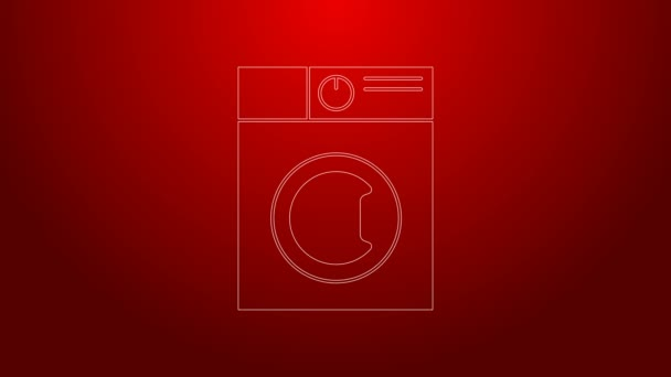 Zöld vonal Mosógép ikon elszigetelt piros háttérrel. Mosógép ikon. Ruhaszárító - mosógép. Háztartási készülék szimbólum. 4K Videó mozgás grafikus animáció