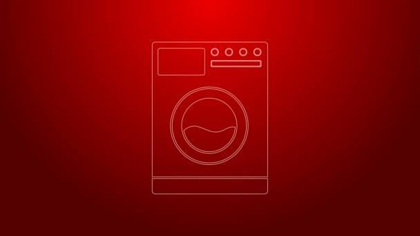 Grüne Linie Unterlegscheibe Symbol isoliert auf rotem Hintergrund. Waschmaschinensymbol. Kleiderwaschmaschine - Waschmaschine. Haushaltsgerätesymbol. 4K Video Motion Grafik Animation