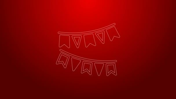 Zöld vonal Karnevál koszorú zászlók ikon elszigetelt piros háttérrel. Parti zászlók születésnapi ünnepségre, fesztiválra és tisztességes dekorációra. 4K Videó mozgás grafikus animáció
