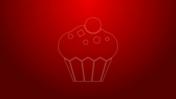 Green line Muffin icon isolated on red background. 4K Video motion graphic animation