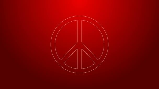 Zelená čára Ikona míru izolovaná na červeném pozadí. Hippie symbol míru. Grafická animace pohybu videa 4K