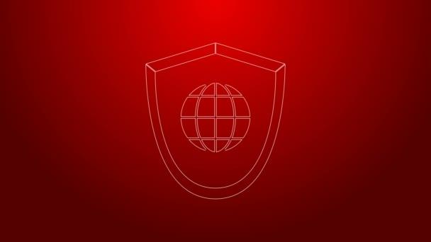 Zöld vonal Pajzs világgömb ikon elszigetelt piros alapon. Biztonság, biztonság, védelem, adatvédelem. 4K Videó mozgás grafikus animáció