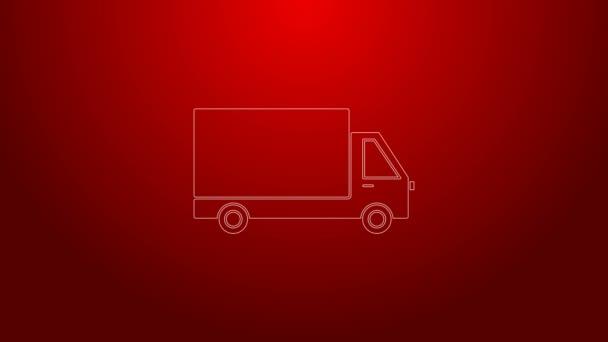 Zelená čára Dodávka nákladní vůz ikona izolované na červeném pozadí. Grafická animace pohybu videa 4K