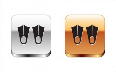 Black Rubber flippers for swimming icon isolated on white background. Diving equipment. Extreme sport. Diving underwater equipment. Silver-gold square button. Vector. icon