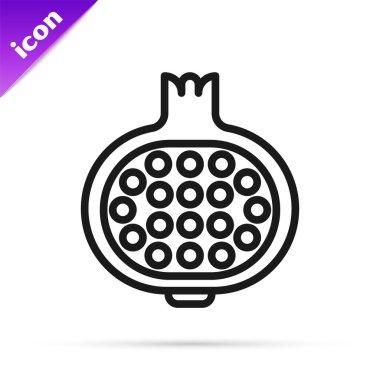 Black line Pomegranate icon isolated on white background. Garnet fruit.  Vector. icon