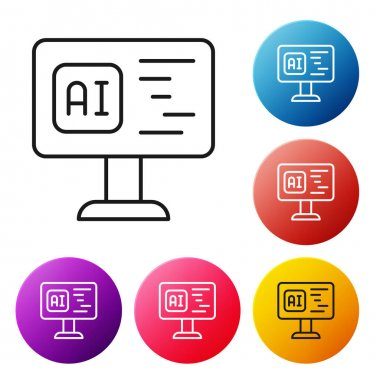 Black line Software, web developer programming code icon isolated on white background. Javascript computer script random parts of program code. Set icons colorful circle buttons. Vector. icon