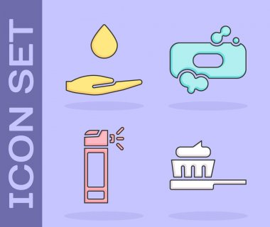 Set Toothbrush with toothpaste, Washing hands with soap, Bottle with nozzle spray and Bar of soap icon. Vector. icon